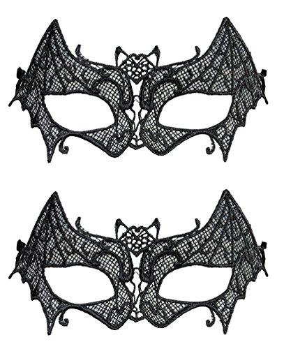 Karneval Klamotten Maske Fledermaus Augenmaske Fledermaus 2 Stück (Fledermaus Maske Kostüm)