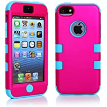 sibaina Funda para teléfono móvil para Apple iPhone 5S, 5C y 5, Nice de colores carcasa rígida de barniz de silicona, 3en 1para iPhone 5C, Protector de pantalla y lápiz capacitivo, silicona plástico, Rose and Lightblue, For Iphone5C