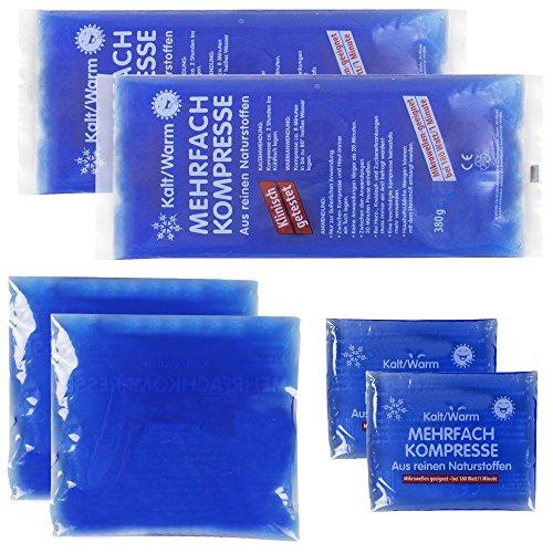 Produktbild com-four® Sparpack Mehrfachkompresse 3 Verschiedene Größen kalt & warm - Mikrowellen geeignet (2X Klein, 2X Mittel, 2X Groß)