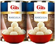 Gits 2Kg Ready to Eat Rasgulla Tins (Pack of 2 X 1Kg Each)