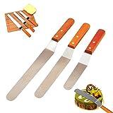 Edelstahl Vereisung Spachtel Set Küche Kuchen dekorieren Tools Holzgriff glatte Füllung Blade Vereisung Messer Verbreitung Dekoration Tool (Set von 3) 6