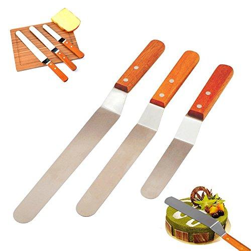 Spachtel Set Küche Kuchen dekorieren Tools Holzgriff glatte Füllung Blade Vereisung Messer Verbreitung Dekoration Tool (Set von 3) 6