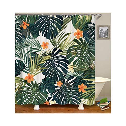 KnSam Duschvorhang Anti-Schimmel Wasserdicht Vorhänge An Badewanne Bad Vorhang für Badezimmer Waldblume 100% Polyester inkl. 12 Duschvorhangringen 120X180cm (Vorhänge Badezimmer-fenster Land)