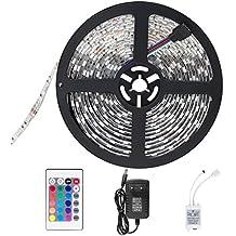 SENDIS 5M Tira LED RGB, 3528 SMD 300 Leds, IP65 Impermeable, Mando IR de 24 Teclas y Alimentación 12V 2A