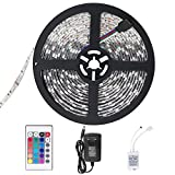 SENDIS Ruban LED Etanche 5M 3528 RGB Multicolore SMD 300 LED Bande Flexible Lumineux Strip Light + Télécommande à infrarouge 24 touches + Alimentation 2A 12V