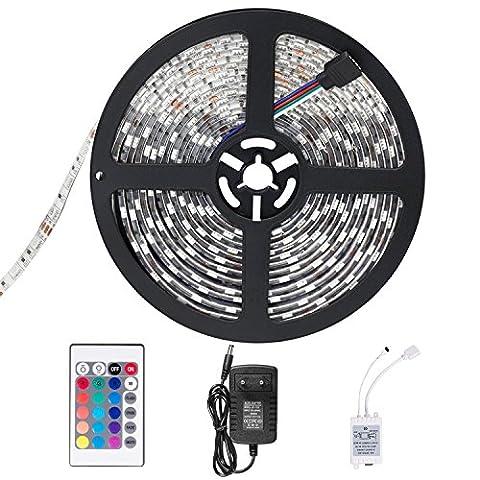 SENDIS Ruban LED Etanche 5M 3528 RGB Multicolore SMD 300 LED Bande Flexible Lumineux Strip Light + Télécommande à infrarouge 24 touches + Alimentation 2A 12V