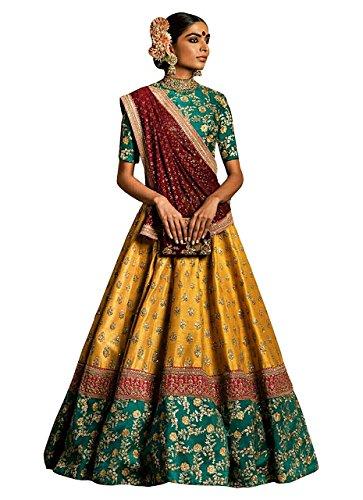 Isha Enterprise Women's Banglori Silk Multi Color Thread Work Lehenga Choli