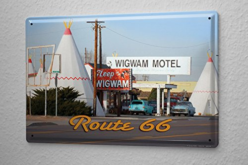 cartello-targa-in-metallo-giramondo-g-huber-wigwam-motel
