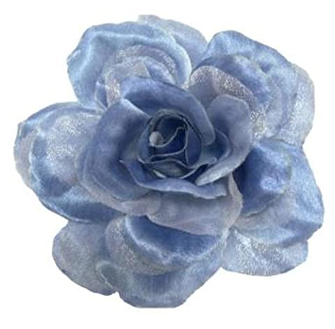 Cuteque International CQA106-ANTIQUE BLUE 3-Piece Packed Satin Organza Rose Embellishment, 4-Inch, Antique Blue