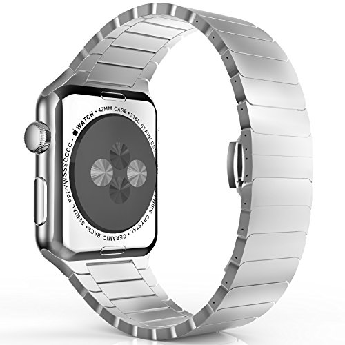 MoKo Correa para Apple Watch SERIES 1 / 2 - Reemplazo SmartWatch Band de Reloj de Acero Inoxidable Bracelete con Hebilla de Cierre Mariposa Pulsera para Apple Watch 42mm, Plata (NO ADPTA PARA 38mm)
