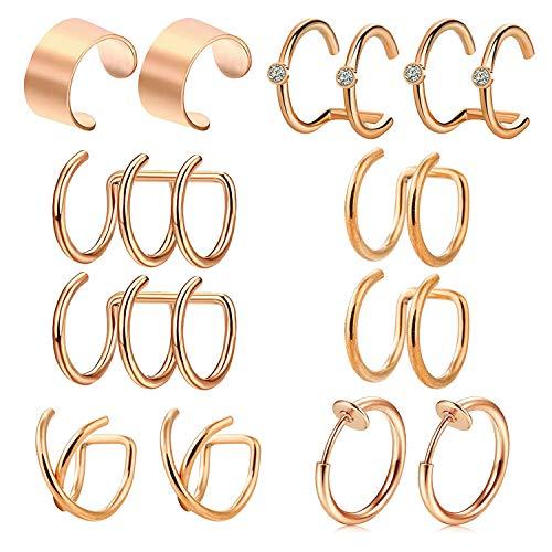 AceFun 6 Paar Ohrklemme Edelstahl Ohr Manschette Nicht Piercing Clip auf Fake Helix Knorpel Piercing für Männer Damen