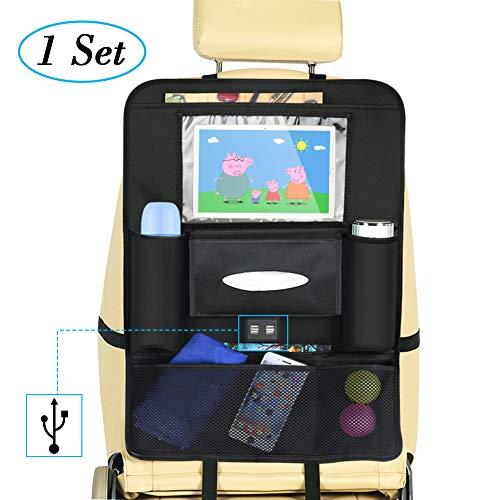 Rückenlehnenschutz Auto,DIAOCARE Auto Rücksitz-Organizer für Kinder,4 USB-Ladesteckdose,Tissue-Boxen,iPad/Tablet-Fach,MultifunktionenTasche,Großer Autositz Schutz,Rückenlehnenschutz Auto Kinder