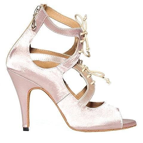 tanz high heels frau sandalen satin leder lateinisch salsa samba tango ballsaal offener zeh weichsohlen schnürsenkel schuh hautfarbe . d . 38