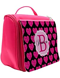 646bfd265c Personalised Cute Pink Hearts MG19 Monogram Pink Hanging Wash Bag   Toiletry  Travel   Make Up Cosmetic Shower…
