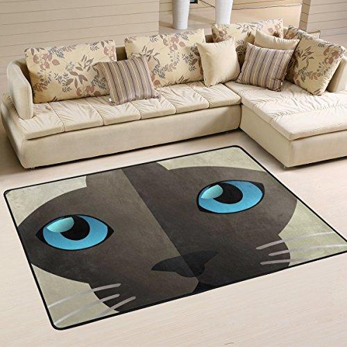 yibaihe leicht, Bereich Teppich Teppich dekorativen modernes Funny Siamkatze wasserabweisend farbbeständige für Wohnzimmer Schlafzimmer, 91 x 61 cm - Dekorative Teppiche Moderne Teppiche