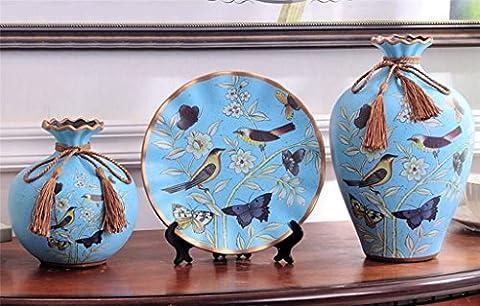 Vase de table en céramique de style européen avec des fleurs Creative trois Ensembles Home Salon Décoration Arrangement de fleurs Marry Flowerware Luxueux Cadeau Décorations Beauté Bouteille