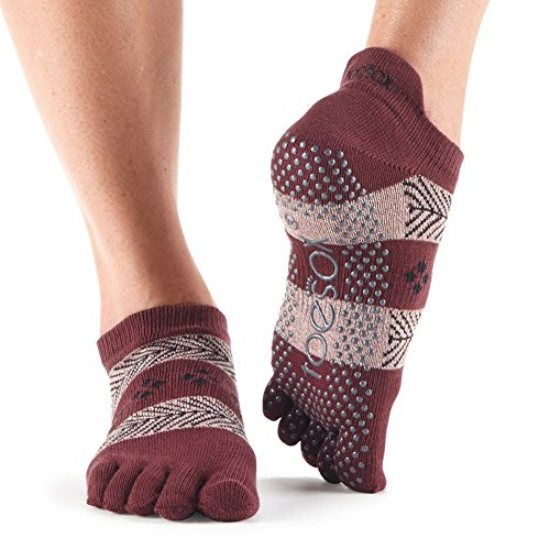 Damen 1 Paar ToeSox Full Toe Organic Cotton Low Rise Net Yoga Socken, Damen, Wonderland, m