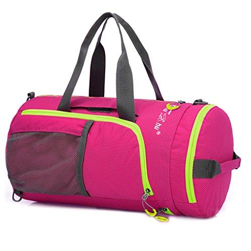 Jaimelavie Multifunktions Wasserdicht Sportspack Large Faltbar Sporttasche Rucksack Reisetasche Handtasche Barrel Bag Rosa