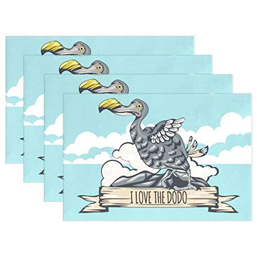 13798c294 Senwei I Love The Dodo Bird Tisch-Sets Home Teller Fußmatte für Esstisch  hitzebeständig Küche