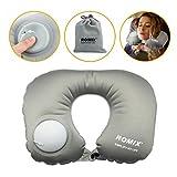 Oreiller de voyage gonflable oreiller en forme de u oreiller de voyage avion pour cou,menton,tête avec paquet sac.(gris)