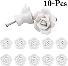 Outgeek 10PCS Drawer Knob Ceramic Rose Flower Shape Cabinet Knob Door Knob