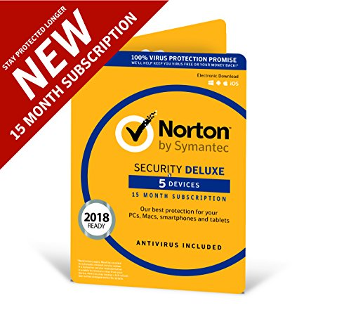 Price comparison product image Norton Security Deluxe 2018 / 5 devices / 1 year + 3 months / Antivirus included / PC / Mac / iOS / Android / Download