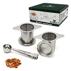 KANDLY Premium Teesieb 2er-Pack Doppel-Griff 12,5cm für breite Tassen | Edelstahl Zertifiziert + BPA frei | ideal für losen Tee | Blätter | Früchte | Kräuter | inklusive Teelöffel mit Klammer Clip