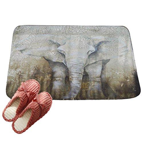LvRaoo Fußmatte Willkommen für Haustür Innen und Aussen Fussmatten Rutschfest Schmutzfangmatte Fußabtreter Fussabstreifer - Mandala Elefant Drucke (# 27, 60 * 40cm)