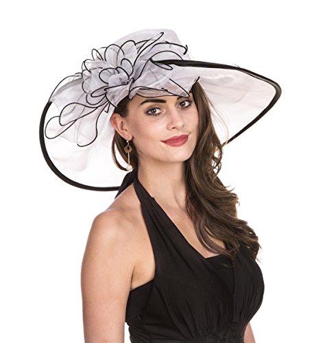 Lucky Leaf Kirchenhut, Organza-Hut, breit, für Frauen, Blumenmuster, für den Abend Gr. Medium, Grand Blanc - Frauen Hut -