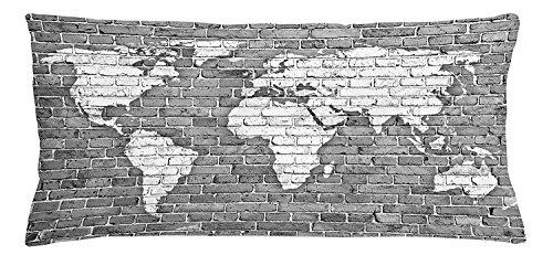 fringcoook Wanderlust Überwurf, Weltkarte auf Old Brick Wand Grunge Antik gebeizt Abstrakt, dekorative Kissenbezug, quadratisch Accent Kissen Fall, 76,2x 50,8cm, Pale Grau Weiß (Antik Leinen Weiß Blatt)