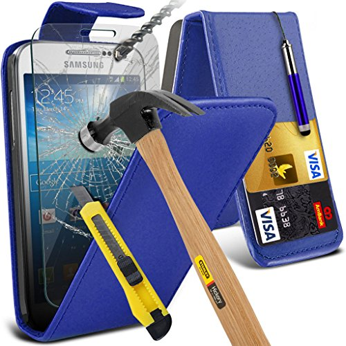 Samsung Galaxy S5 Neo hülle Tasche (Grün + Kopfhörer) Slim-Fit-Abdeckung für Samsung-Galaxie-S5 Neo-hülle Tasche Haltbarer S Linie Wellen-Gel-Kasten-Haut-Abdeckung + mit Aluminium Earbud Kopfhörer, Po Leather Flip + Glass ( Blue )