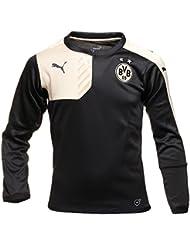 Puma BVB Borussia Dortmund Training Sweat Pull Top Noir Or enfants Kids