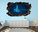 3D Wandtattoo weißer Hai Haie Meer Wasser blau selbstklebend Wandbild Tattoo Wohnzimmer Wand Aufkleber 11L140, Wandbild Größe F:ca. 97cmx57cm