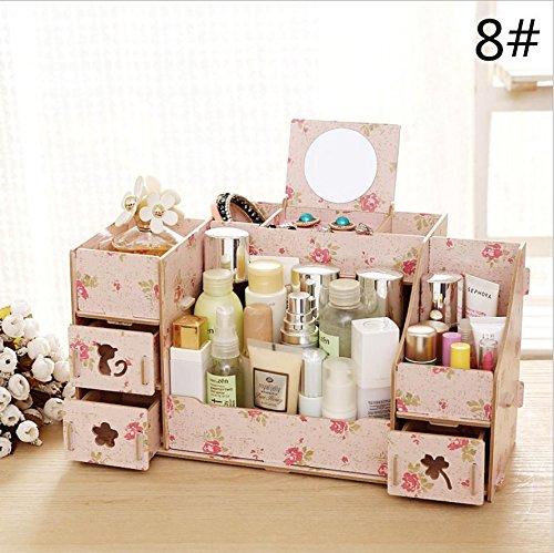 Grand bureau en bois boîtes cosmétiques rangement . 8