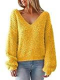 Annybar Damen Herbst Pullover V Ausschnitt Rückenfrei Lace Up Oversize Pulli Strickpullover Gelb