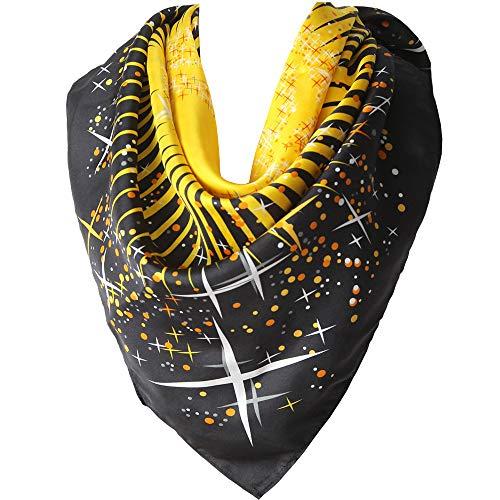 Seidenschal Damen 100% Seiden Schal Quadratisch Halstuch Hautfreundlich Anti-Allergie Tuch XL 90 * 90cm (Schwarz Gelb) MEHRWEG