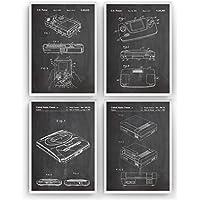 Gaming Poster de Patente - Pack de 4 Láminas - Patent Póster Con Diseños Patentes Decoracion de Hogar Inventos Carteles Prints Wall Art Posters Regalos Decor Blueprint - Marco No Incluido