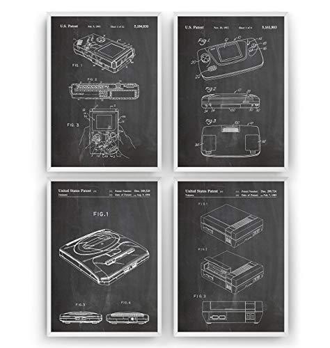 Gaming Patent Posters - Satz Von 4 - Size A5 14.8 x 21 cm - Gamer Games Poster Jahrgang Bild Entwurf Vintage Print Patentplakat Videospiele Patentdrucke Blueprint - Frame Not Included