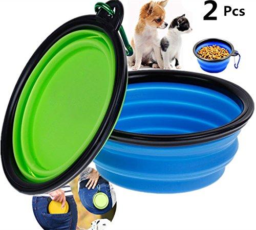 Reisenäpfe Hunde Haustier,Futternapf Katze Faltbar Wassernapf Hundenapf Ftterung - für Unterwegs Näpfe -Silikon - Blau und Grün- 2 Pcs - Aoly (2 Pcs, Blau und grün)