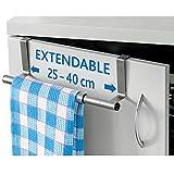 ArtMoon Spread   Türhandtuchhalter   Halter für Handtücher, Lumpen, Geschirrtücher aus Edelstahl   Ausziehbare Breite 25 - 40 cm   Türschutz   Abmessungen : 25/40x8x9 cm