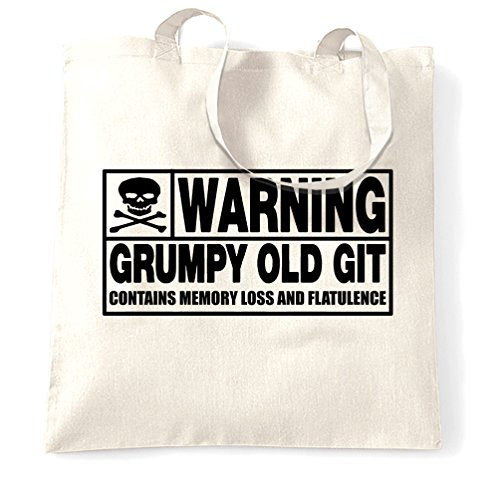 Attenzione Grumpy Old Git divertente Slogan Famiglia Papà Fratello nonno Sacchetto Di Tote White
