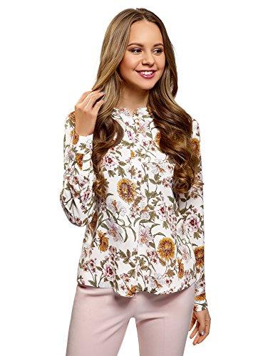 oodji Collection Mujer Blusa de Viscosa de Silueta en A, Blanco, ES 40 / M