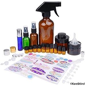 Kit de Botellas de Aceite Esencial Recargables – 16 Botellas/Tarros de aceite esencial de varios tamaños, 3 Atomizadores…