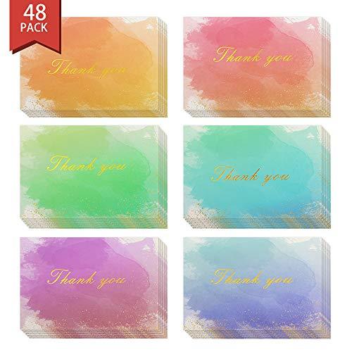 MoKo 48 Tarjetas de Felicitación con Sobres, Tarjetas de Agradecimiento con Interior en Blanco para Notas de Gracias para Negocio, Boda, Tarjeta de Regalo, Graduación, Baby Shower, 6 x 6 Inch - Iris