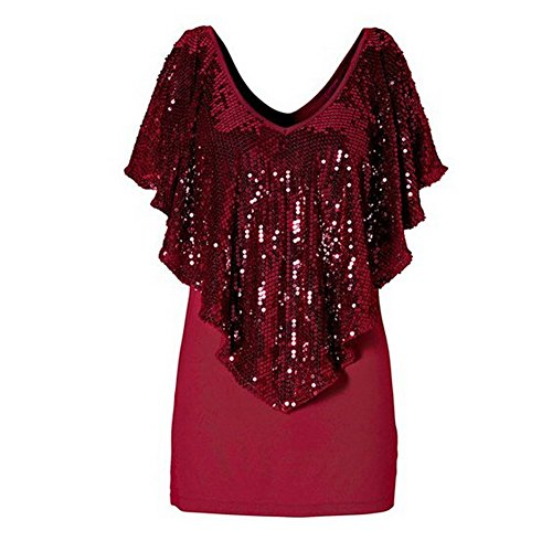 FOREVER YUNG Women's Sexy V-neck Ruffed Shirts with Sequins Red