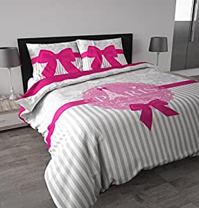 sleeptime housse de couette i love paris 200x200 220 blanc avec 2 housse d 39 oreiller 60x70. Black Bedroom Furniture Sets. Home Design Ideas