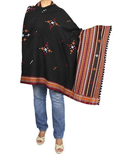 Accessoire écharpe de châle de laine brodé indienne de main femmes