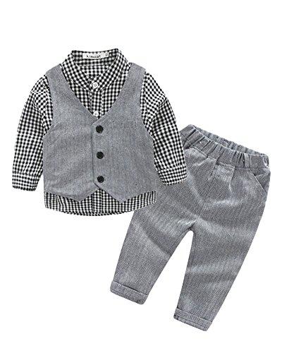 Baby Jungen Kleinkind Formal Langarm Plaid Shirt + Weste + Hose 3 Stück Anzüge Grau 80 (Plaid-weste 3 Stück)