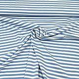 MAGAM-Stoffe ''Adele'' blau weiß | Streifen Ringel |