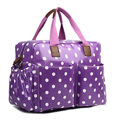 Miss Lulu, 4-teiliges Wickeltaschenset, mattes Wachstuch, geblümt und gepunktet oder andere Motive (schottischer Terrier, Schmetterlinge, Katzen, Elefanten), beige - Cat Beige - Größe: L violett mit punkten